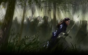 Picture forest, girl, sword, bow, art, elves, hood, cloak, The Lord of the Rings, Arwen, archers, …