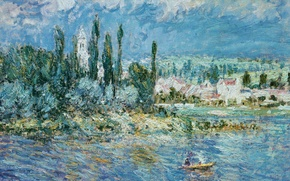 Picture trees, boat, home, picture, Claude Monet, Landscape with Thunderstorm