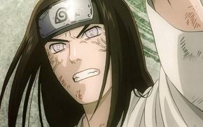 Picture eyes, portrait, Naruto, long hair, ninja, ninjutsu, byakugan, abrasion, Naruto shippuuden, Neji Hyuuga, bandage on …