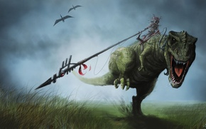 Picture grass, movement, people, dinosaur, art, running, rider, spear, pterodactyl, top, aboriginal, T-rex, Rex