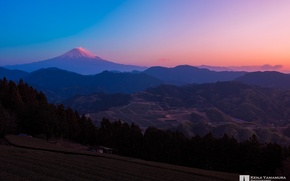 Picture the sky, sunset, Japan, Mount Fuji, photographer, Kenji Yamamura, lake Yamanaka