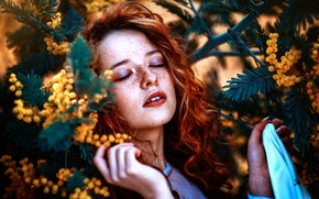 Picture girl, freckles, flowers, Ronny Garcia