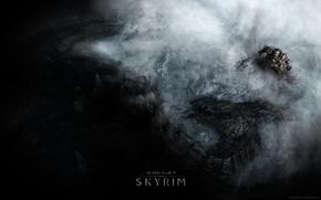 Picture snow, mountains, dragon, art, Creek, the elder scrolls, skyrim, Skyrim, duvakin