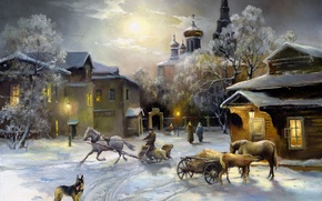 Picture dog, winter. home, light, snow, Church, painting, horse, Windows, the sky, shepherd
