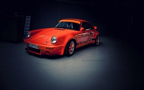 Wallpaper garage, Porsche, Carrera, orange