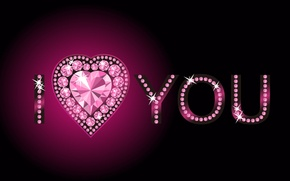 Picture pink, heart, rhinestones, i love you