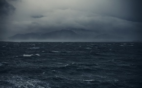 Picture sea, wave, mountains, clouds, fog, overcast