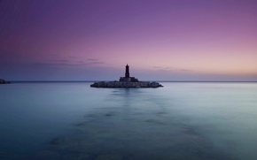 Picture the sky, the ocean, lighthouse, Sea, the evening, calm, lilac