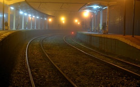 Picture night, the city, station, railroad