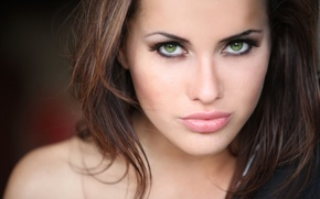Picture look, girl, face, hair, makeup, lips, green eyes, Agnieszka Jaworska