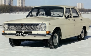 Picture snow, USSR, white, Volga, GAZ-24
