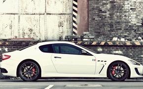 Picture Maserati, White, Maserati, Car, Car, GranTurismo, White, Wallpapers, Wallpaper, Sports car, Side, GranTurismo