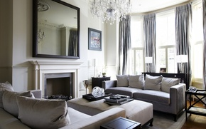 Picture room, interior, fireplace, sofas
