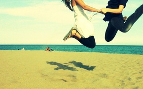 Picture sand, sea, jump, Wallpaper, pair