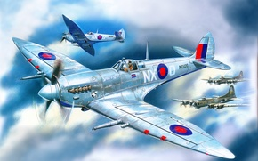 Picture the sky, clouds, figure, art, fighters, flight, aircraft, support, English, WW2, American, heavy, Spitfire Mk.7, …