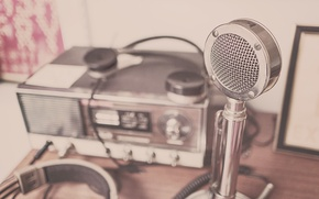 Picture style, retro, radio, microphone, metal, old, Radiola