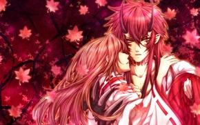 Picture leaves, girl, anime, the demon, art, claws, horns, guy, Hiiro no Kakera, Takuma Onizaki, scarlet …