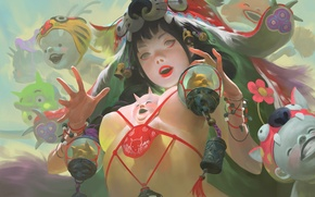 Picture chest, girl, fantasy, perfume, mystic, art, witch, demons
