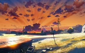 Picture field, figure, Japan, anime, hangar, japan, farm