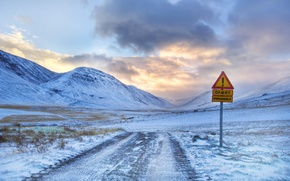 Wallpaper the road leading to the mountain and the exclamation mark, winter