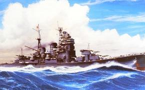 Picture ship, art, Navy, military, cruiser, Japanese, cruiser, WW2, IJN, Myoko