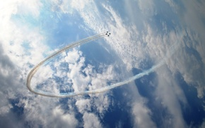 Picture the sky, clouds, ring, aircraft, fighters, aerobatics