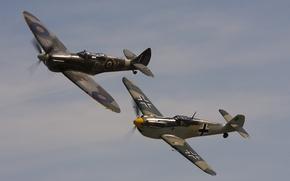 Picture the sky, war, fighters, flight, Messerschmitt, world, Second, times, Bf-109F, Spitfire Tr.9
