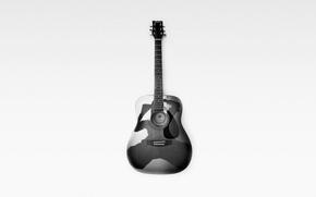 Picture background, guitar, monochrome