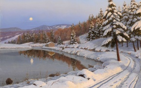 Picture picture, mountains, tree, winter, road, Boris Bessonov, the moon, lake, house, night, landscape, forest