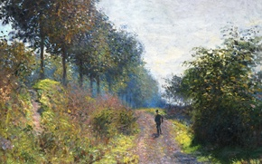 Wallpaper landscape, road, traveler, The Sheltered Path, picture, Claude Monet
