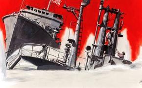 Picture sea, ship, Taran, sailors, Морт Artist