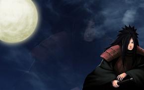 Picture night, the moon, naruto, shinobi, Uchiha Powers