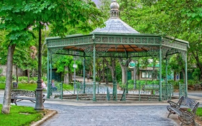 Picture trees, Park, alley, gazebo, bench