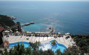 Picture sea, the sun, nature, calm, height, pierce, the hotel, Turkey