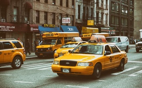 Picture Manhattan, school bus, street, New York City, NYC, Yellow Traffic, taxi