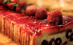 Wallpaper red, food, strawberry, cake, cake, sweet, roll