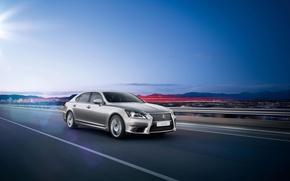 Picture Auto, Road, Lexus, Grey, Lexus, The front, LS-EU