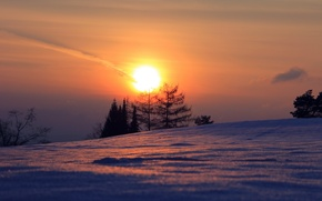 Picture winter, landscape, sunset