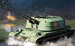 Picture figure, Vietnam, paired, ZSU-57-2, Soviet anti-aircraft self-propelled artillery installation, double-barreled