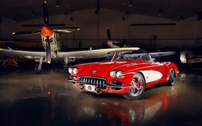 Picture red, tuning, Corvette, Chevrolet, hangar, twilight, Chevrolet, drives, classic, tuning, the front, aircraft, custom, Corvette, …