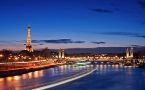 Picture the city, lights, river, Paris, the evening, France