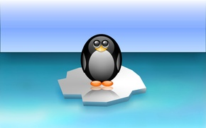 Picture sea, bird, penguin, floe, Antarctica