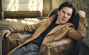 Wallpaper pose, actor, sitting, coat, photoshoot, in the chair, pants, Benedict Cumberbatch, Benedict Cumberbatch, jumper, Vanity ...