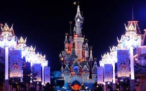 Picture decoration, lights, castle, France, Paris, Paris, Disneyland, Christmas, France, castle, Disneyland, christmas lights