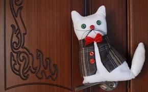 Picture toy, Cat, gentleman, white cat, toy cat, cat Boris