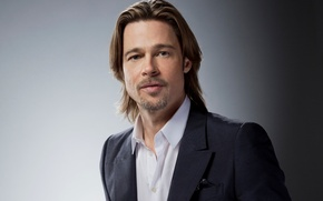 Picture actor, male, Brad Pitt, Brad Pitt, grey background, producer