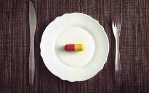Picture plate, fork, knife, drug, dinner, medication, pill, Medicated