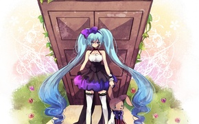 Picture anime, dress, Vocaloid, Miku, plush Bunny