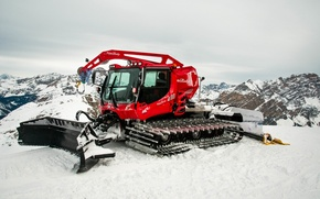 Picture the sky, snow, Mountains, slope, bucket, winch, Kässbohrer, Snowcat, From Kitty Bully