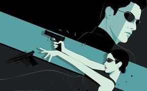 Picture weapons, art, glasses, matrix, The Matrix, neo